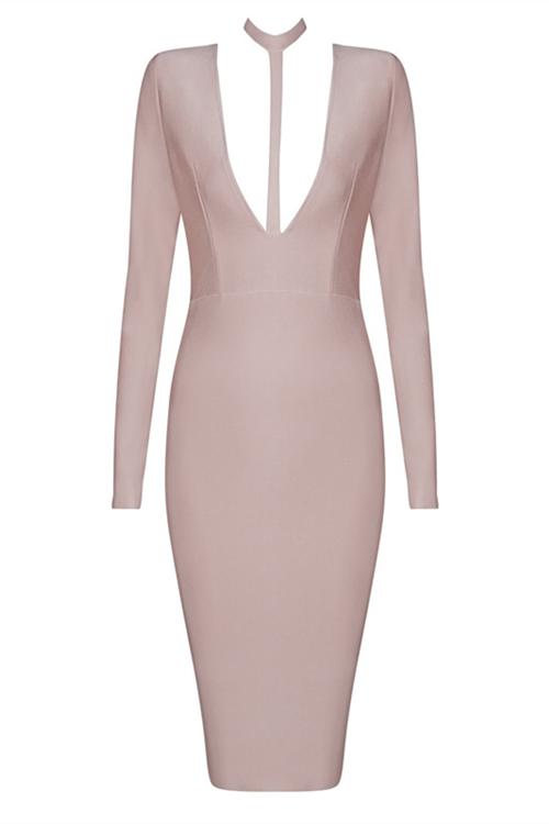 Hot Deep V Neck Long Sleeve Bandage Dress KH1463