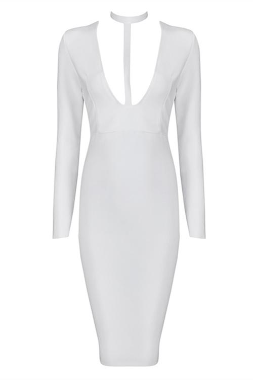 Hot Deep V Neck Long Sleeve Bandage Dress KH1463 1