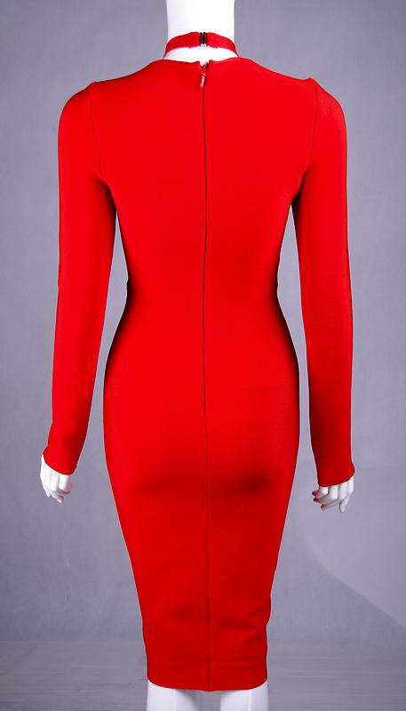 Hot Deep V Neck Long Sleeve Bandage Dress KH1463 2