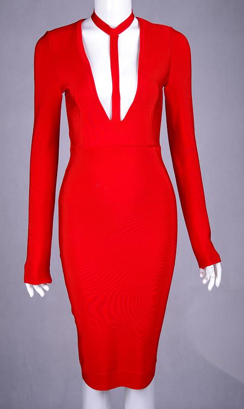 Hot Deep V Neck Long Sleeve Bandage Dress KH1463 3