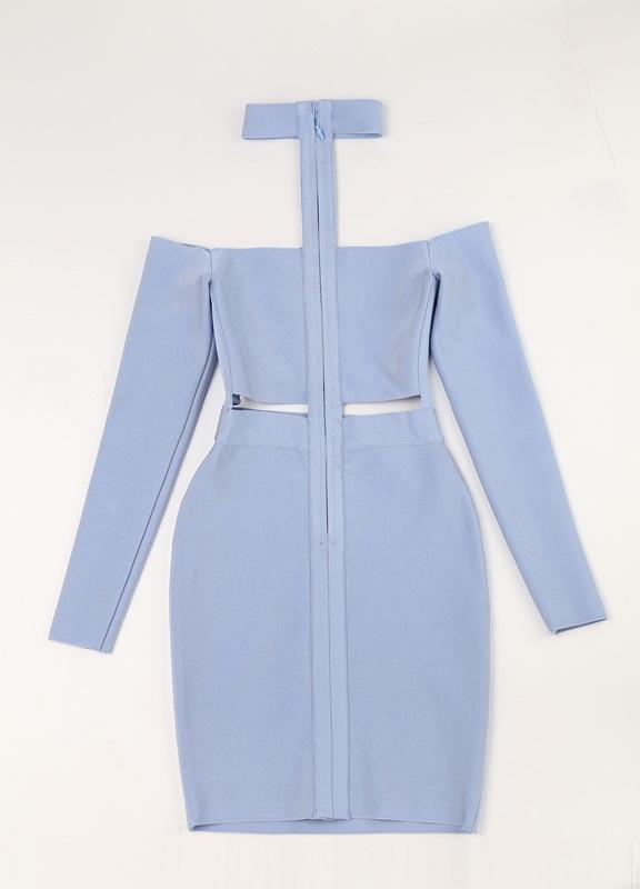 Off The Shoulder Bandage Dress Halter Neck Hollow Out Mini Dress KD002 (1)