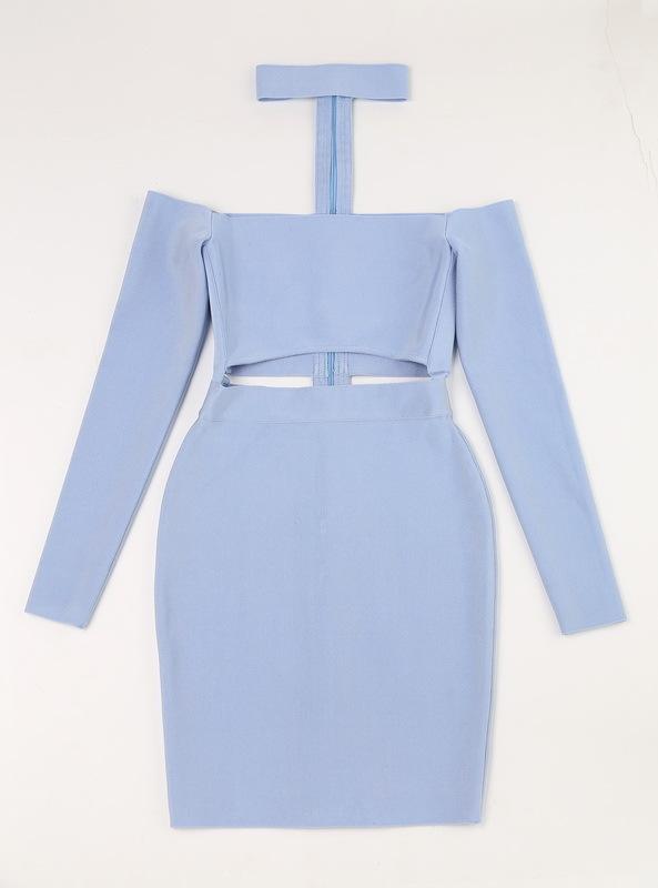 Off The Shoulder Bandage Dress Halter Neck Hollow Out Mini Dress KD002 (11)