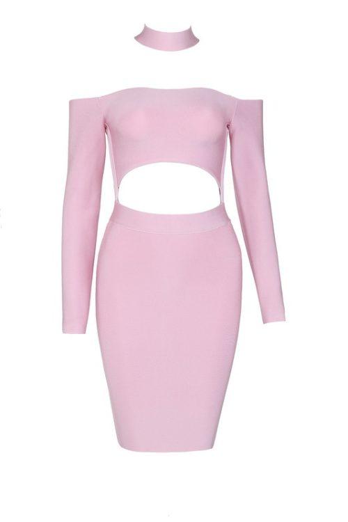 Off The Shoulder Bandage Dress Halter Neck Hollow Out Mini Dress KD002 15
