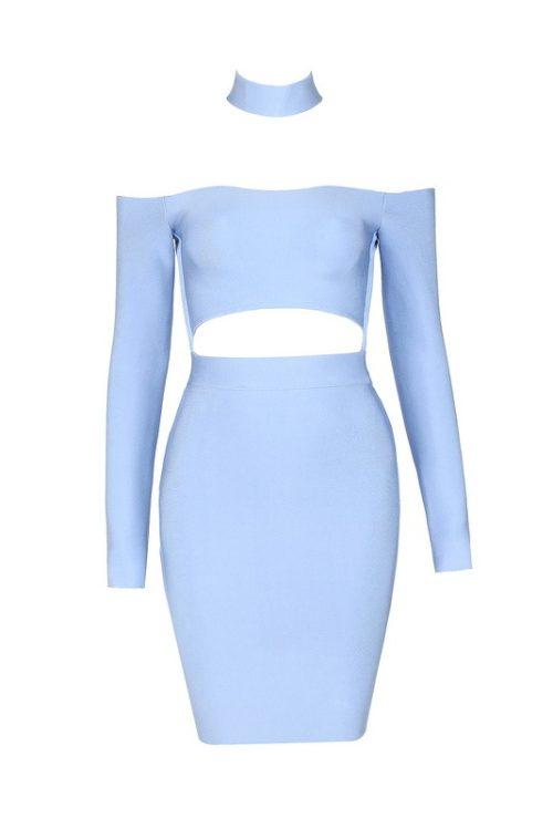 Off The Shoulder Bandage Dress Halter Neck Hollow Out Mini Dress KD002 16