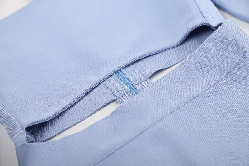Off The Shoulder Bandage Dress Halter Neck Hollow Out Mini Dress KD002 (9)