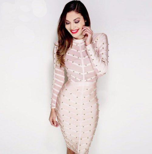 Sexy Mesh Studded Long Sleeve Bandage Dress KH1577 1