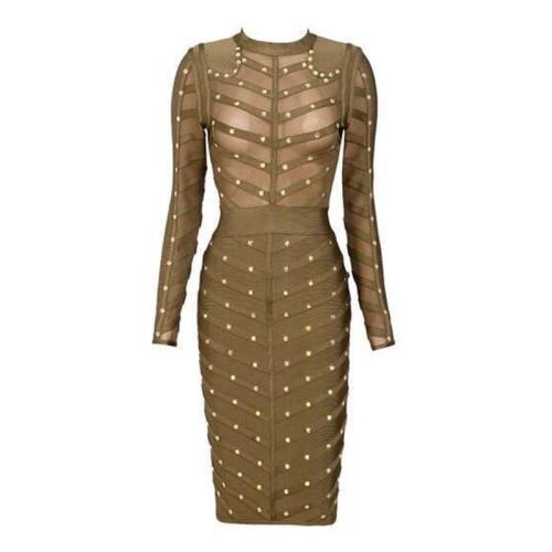 Sexy Mesh Studded Long Sleeve Bandage Dress KH1577
