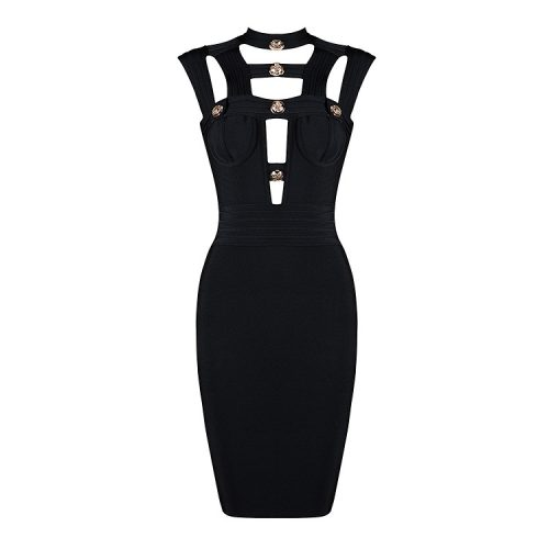 Hollow Out Bandage Dress Halter Neck Sexy Party Dress KH2348 11