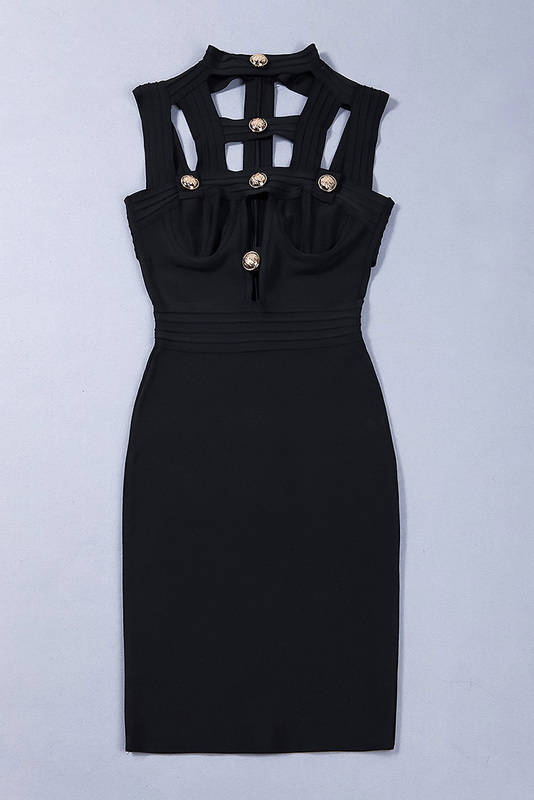 Hollow Out Bandage Dress Halter Neck Sexy Party Dress KH2348 (3)