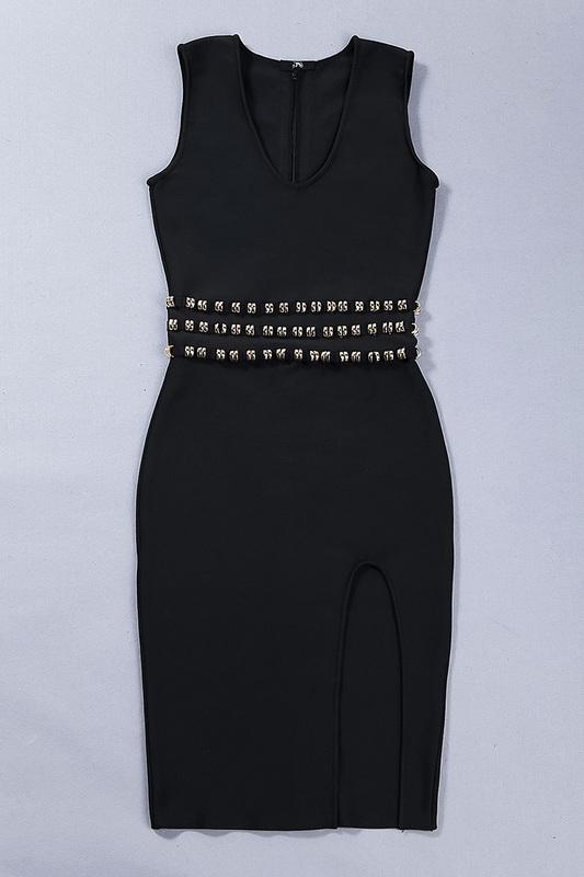 Sleeveless Slit Bandage Dress With Waist Studded KH2316 (10)