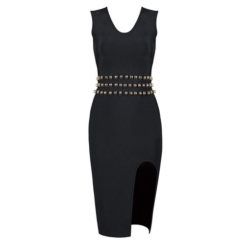 Sleeveless Slit Bandage Dress With Waist Studded KH2316 8