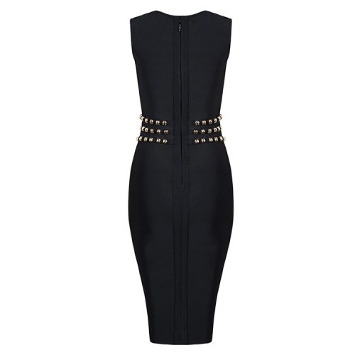 Sleeveless Slit Bandage Dress With Waist Studded KH2316 9