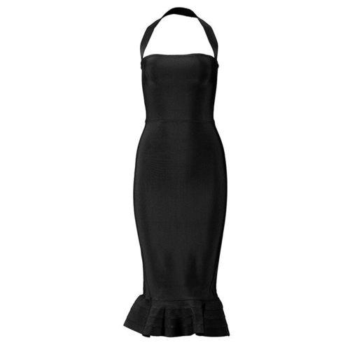 Fishtail Bandage Dress Halter Neck Off Shoulder Long Dress KL1039 1