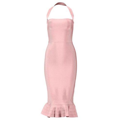 Fishtail Bandage Dress Halter Neck Off Shoulder Long Dress KL1039 11