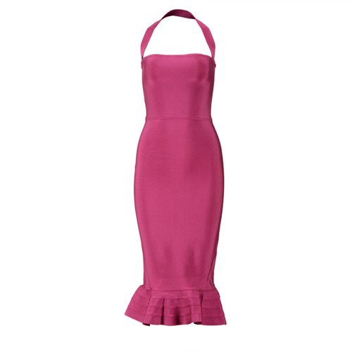 Fishtail Bandage Dress Halter Neck Off Shoulder Long Dress KL1039 3