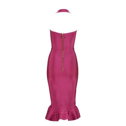 Fishtail Bandage Dress Halter Neck Off Shoulder Long Dress KL1039 4