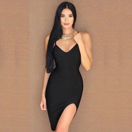 Split Short Mini Strap Bandage Dress KH1744