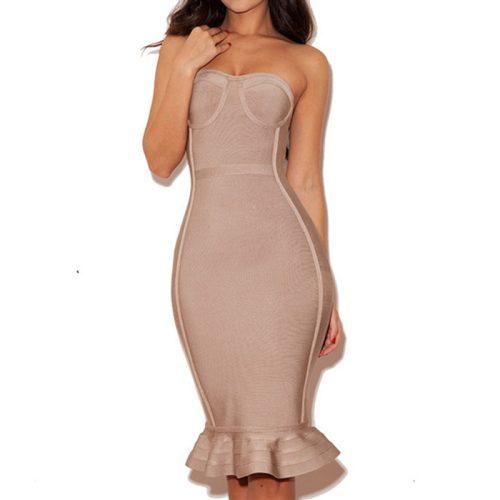 Knee Length Beige Strapless Mermaid Bandage Dress With Line KH1151 1