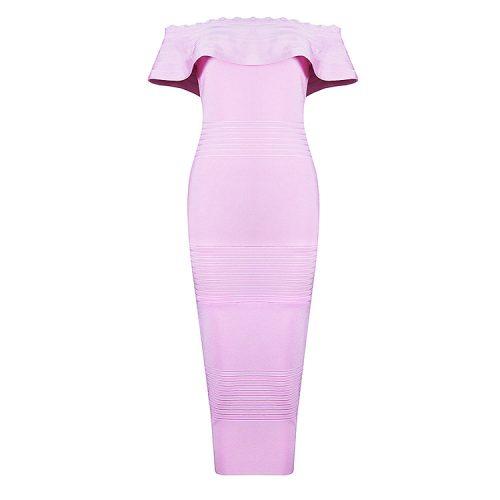 Off The Shoulder Ruffle Neck Mid cale Bandage Dress KH2331 15