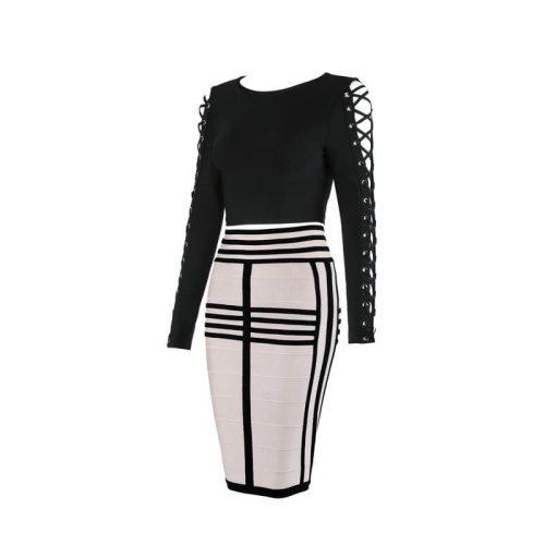 Long Sleeve Lace up Stripe Bandage Dress Two Piece Set KL1068 28
