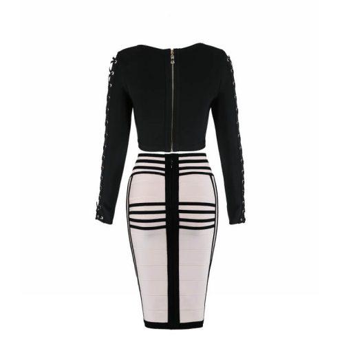 Long Sleeve Lace up Stripe Bandage Dress Two Piece Set KL1068 29