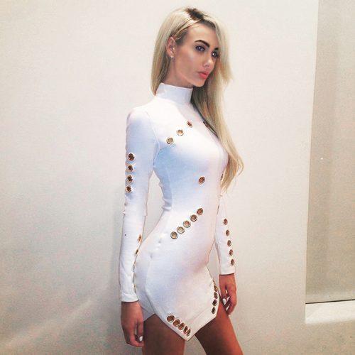 Rivet Studded Hollow Out Long Sleeve Mini Bodycon Dress KH2521 1
