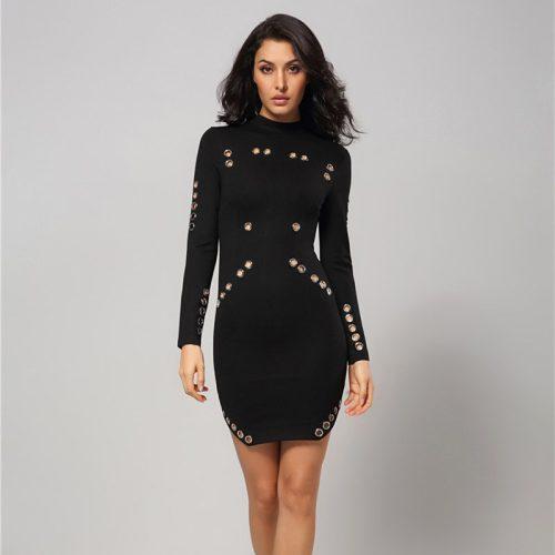 Rivet Studded Hollow Out Long Sleeve Mini Bodycon Dress KH2521 2 1
