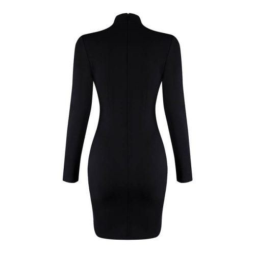 Rivet Studded Hollow Out Long Sleeve Mini Bodycon Dress KH2521 5