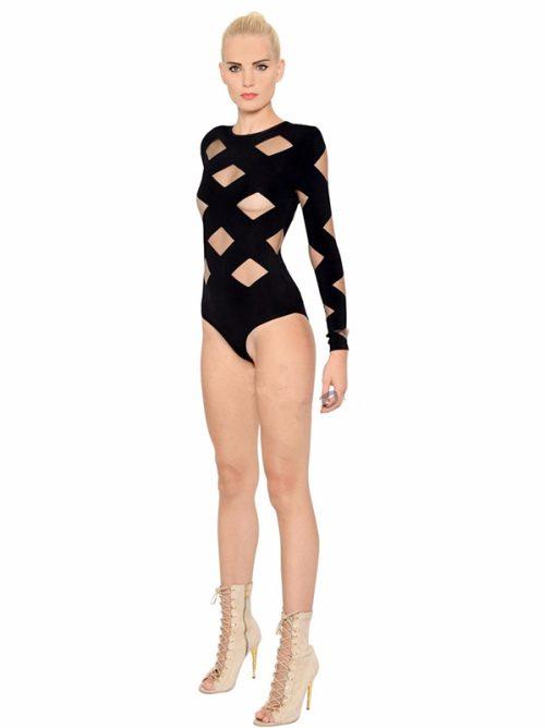 Black Mesh Patchwork Long Sleeve Sexy Bandage Bodysuit 2