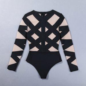 black-mesh-patchwork-long-sleeve-sexy-bandage-bodysuit-6