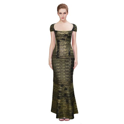 Gold Foiling Style Cape Sleeve Bandage Party Dress Maxi Dress KL1077