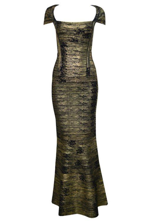 Gold Foiling Style Cape Sleeve Bandage Party Dress Maxi Dress68