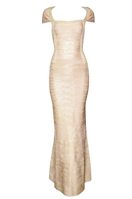 Gold Foiling Style Cape Sleeve Bandage Party Dress Maxi Dress74