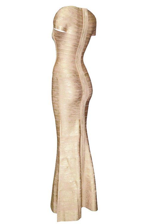 Gold Foiling Style Cape Sleeve Bandage Party Dress Maxi Dress75