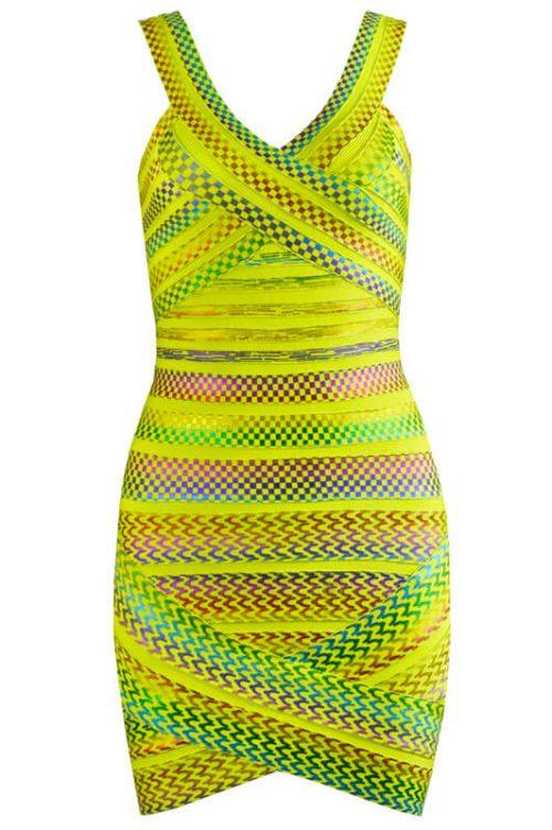Gold Foiling Style Colorful Backless Bandage Dress 15