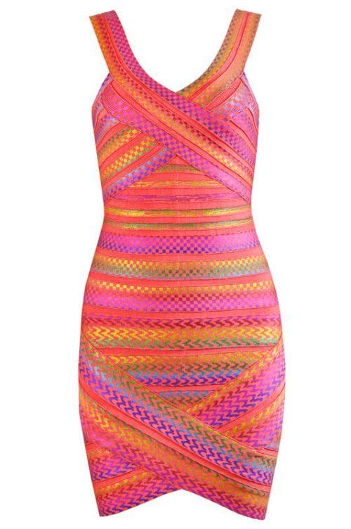 Gold Foiling Style Colorful Backless Bandage Dress 9
