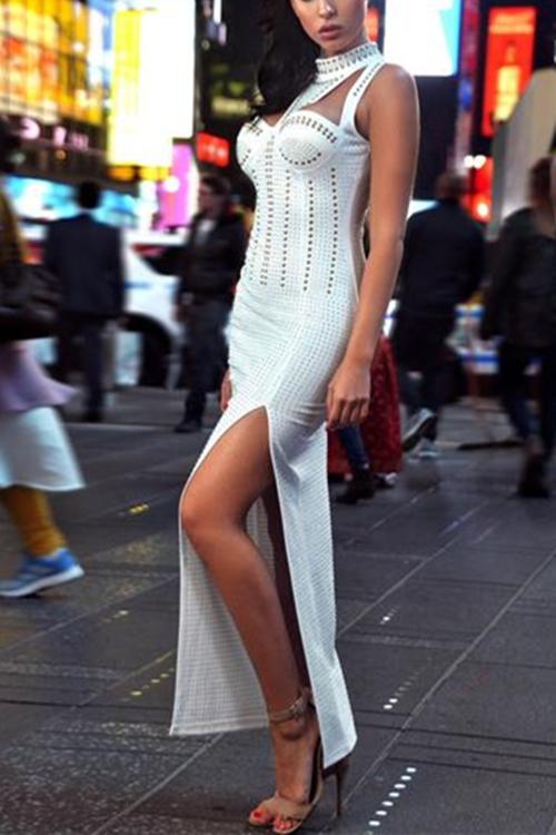 Luxury Beaded Hollow Split Sexy Dress KL1085 17 副本