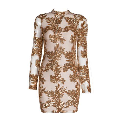 Flower Sequin Mesh Long Sleeve Bandage Dress KH4002 2