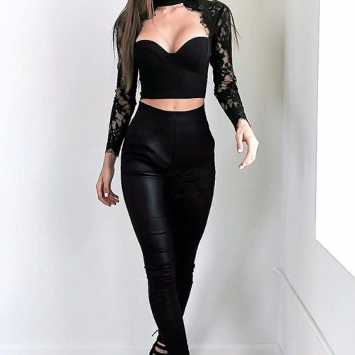 New Fashion Long Sleeve Lace Hollow Out Sexy Formal Elastic Waist Skinny Pant Suits Set KH2599 1 副本