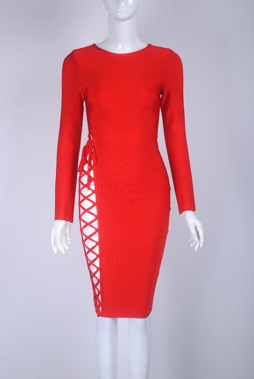 Lace Up Hollow Out Bodycon Long Sleeve Bandage Dress KH2590 16