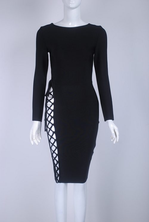 Lace Up Hollow Out Bodycon Long Sleeve Bandage Dress KH2590 21