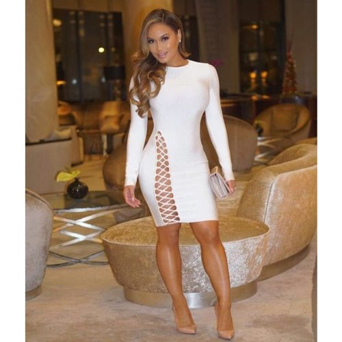 Lace Up Hollow Out Bodycon Long Sleeve Bandage Dress KH2590