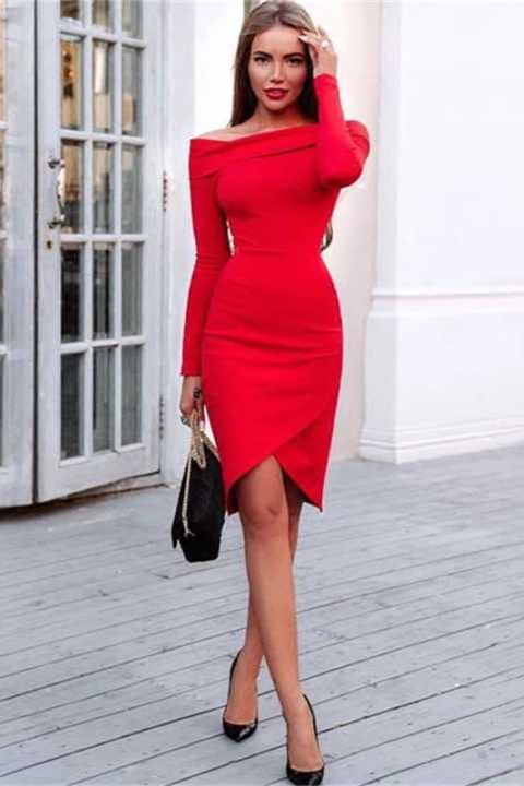 Off Shoulder Long Sleeve Sexy Party Mini Dress KL1102