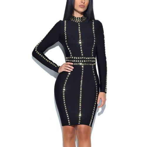 Black Long Sleeve Flash Beaded Bandage Dress KL1118