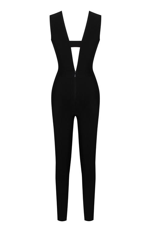 Crystal Embellished Deep V Bodycon Bandage Jumpsuit KL110717 副本