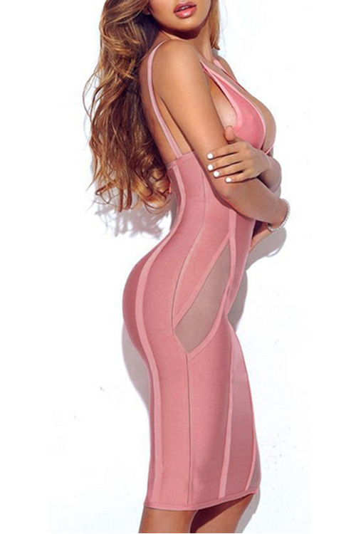 Sexy V Neck Backless Perspective Party Bandage Dress KL1120 15