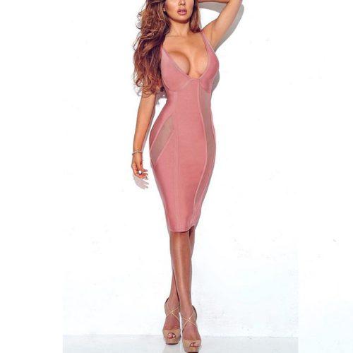 Sexy V Neck Backless Perspective Party Bandage Dress KL1120