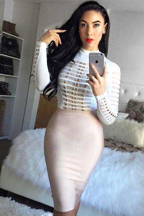 Long Sleeve Mesh Patchwork Beading Sexy Bandage Bodysuit KL1146 3