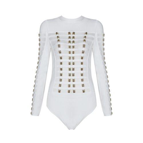 Long Sleeve Mesh Patchwork Beading Sexy Bandage Bodysuit KL1146 6