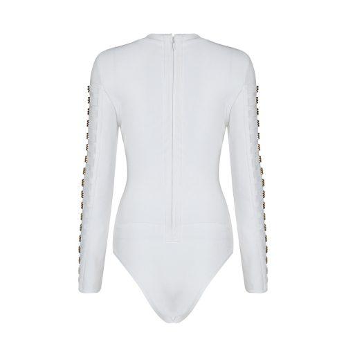 Long Sleeve Mesh Patchwork Beading Sexy Bandage Bodysuit KL1146 7